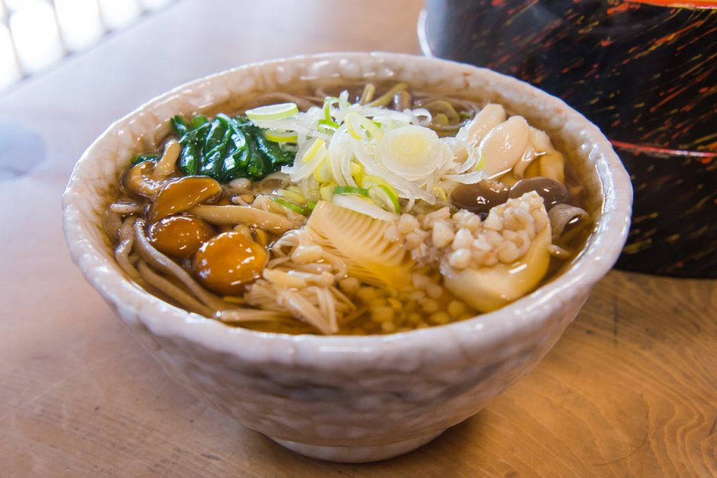 wild mushroom with mountain bamboo shoots soba